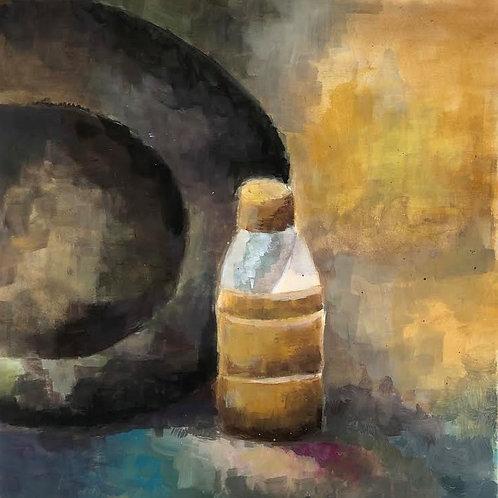 Judith Marty - Die gelbe Flasche Acrylgemälde 30x30cm gerahmt