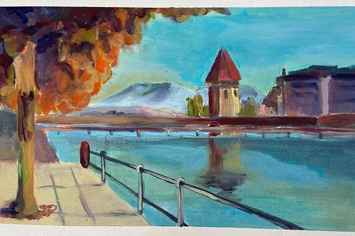 Judith Marty - Luzern Acrylgemälde 28x18cm gerahmt
