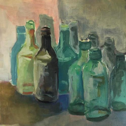 Judith Marty - Flaschen Stilleben Gemälde Acryl 30x30cm