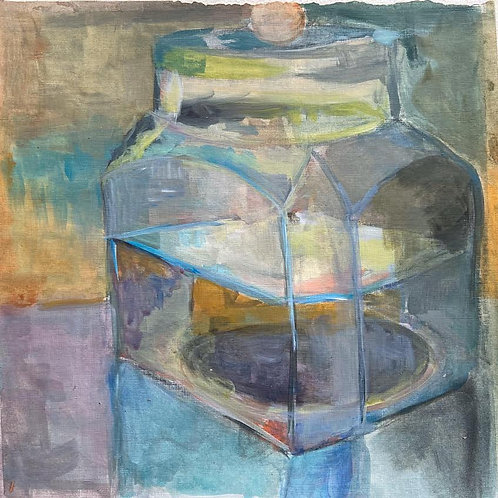 Judith Marty - Glasdose blue Acrylgemälde 30x30cm gerahmt