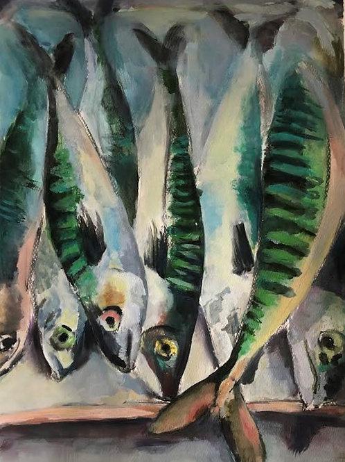 Judith Marty - Die Fische Acrylgemälde 30x40cm gerahmt