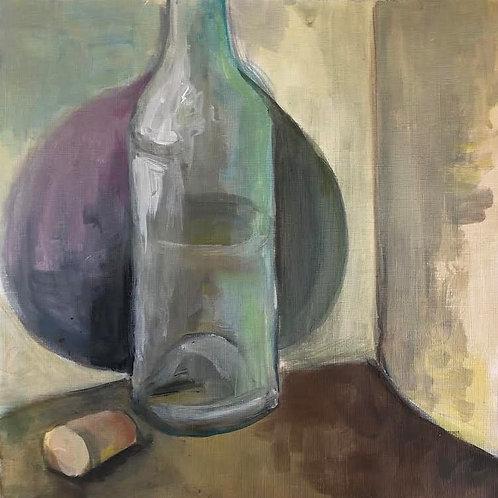 Judith Marty - Die Flasche Acrylgemälde 30x30cm gerahmt