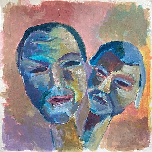 Judith Marty - Faces Acrylgemälde 30x30cm gerahmt