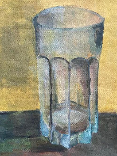 Judith Marty - Das Glas gelb Acrylgemälde 30x30cm gerahmt