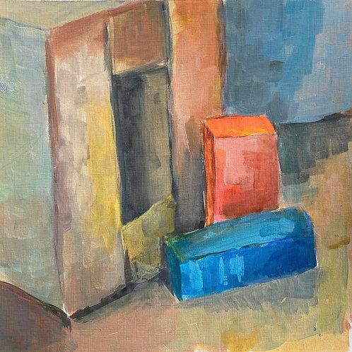 Judith Marty - Boxen blau Acrylgemälde 30x30cm gerahmt