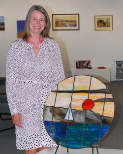 Yvonne Meldrum with her window panel (00