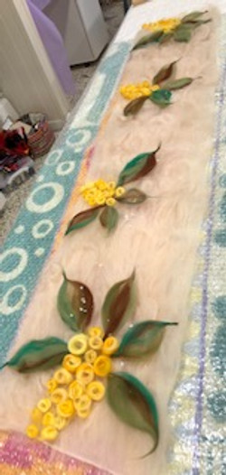 felt long piece with yellow flowers