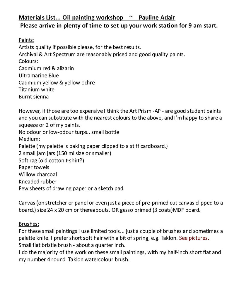 Materials List... Oil painting workshop.