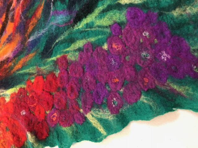 felt with purple flowers