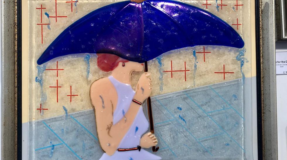 Glasswork Graham Davies  umbrella woman.
