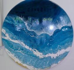 blue circular artwork