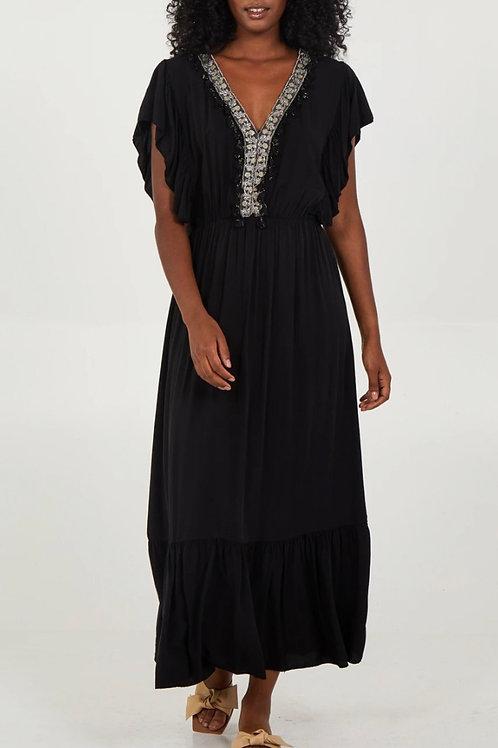Frill Sleeve Tassel Detail Maxi Dress