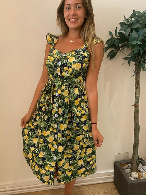 Lemon print button through dress