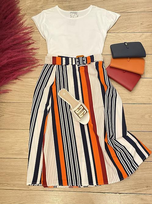 Multi Stripe A-Line Skirt