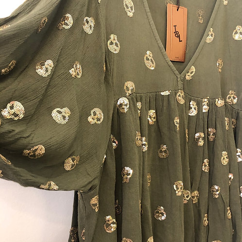 Sparkly Skull Tunic Top