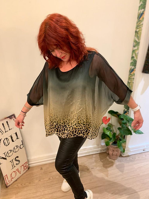 Ombre Leopard Print Bawting Top