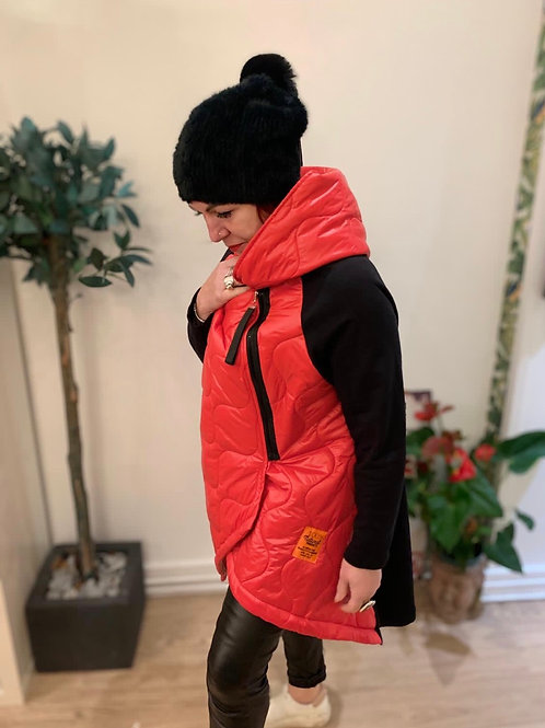 Hooded Asymmetric Quilted Coat