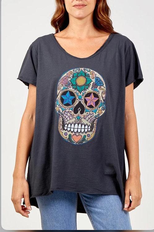 Sequin skull tee