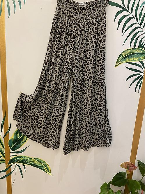 Wide Leg Leopard Print Pants