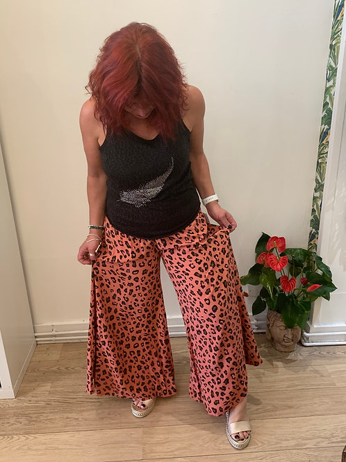 Leopard Print Wide Leg Pants