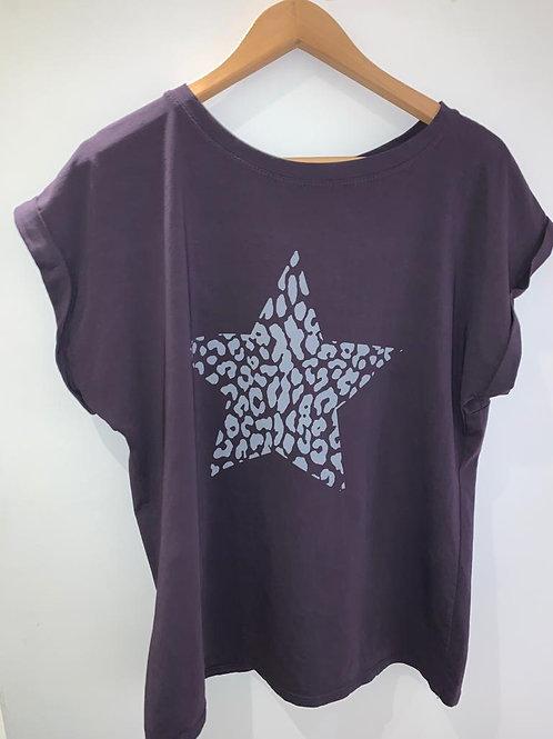 Leopard Print Star Tee