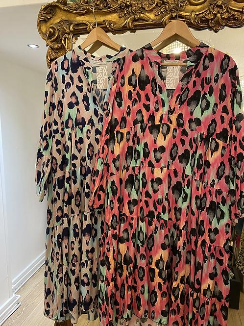 Bold Leopard Print Smock Dress