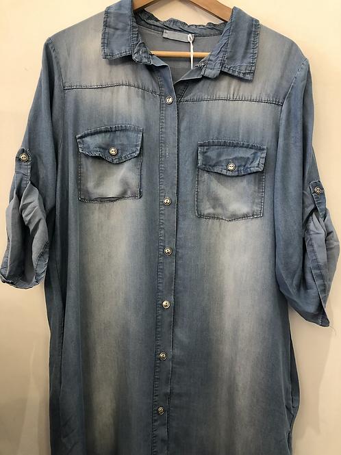 Button through Denim Shirt Dress