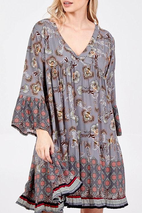 V-Neck Printed Smock Dress