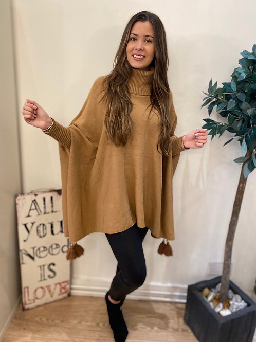 Roll-neck Poncho Style Jumper
