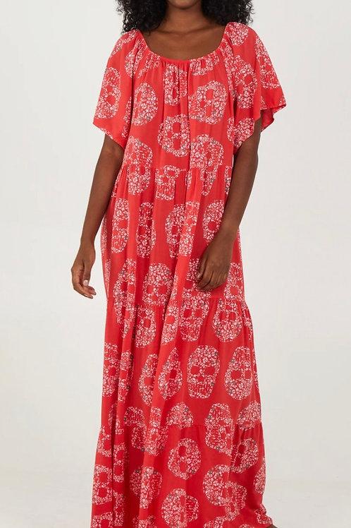 Floral Skull Tiered Maxi Dress