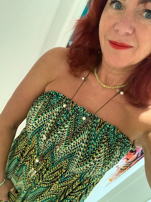 Green Printed Bandeau Maxi Dress