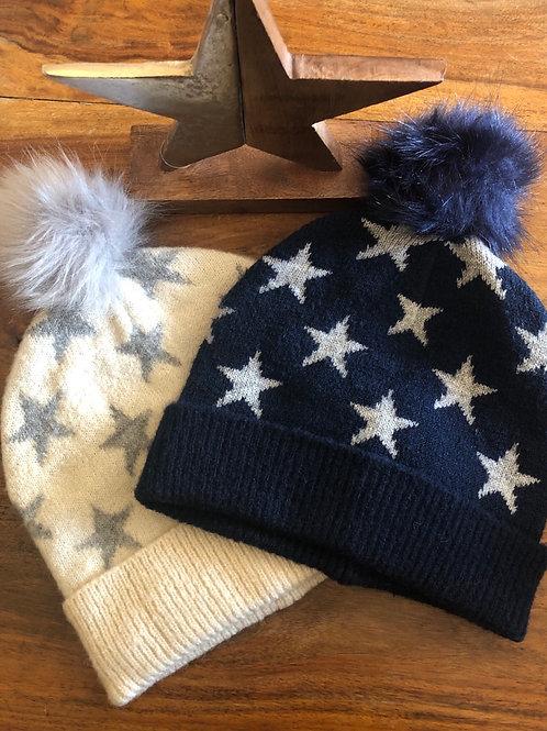 Star Pom Pom Woolly Hat