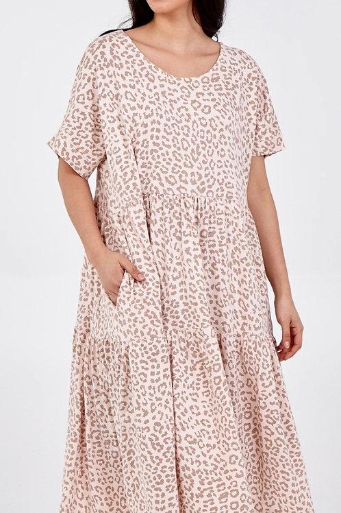 Scoop Neck Leopard Print Midi Tiered Dress