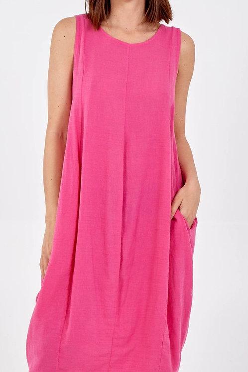 Round Neck Two Pocket Linen Dress