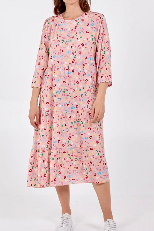 Midi Multicoloured Leopard Print Dress