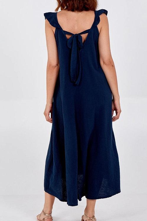 Frill Strap Tie Back Maxi Dress