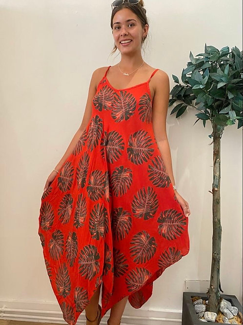 Tropical Print Handkerchief Dress