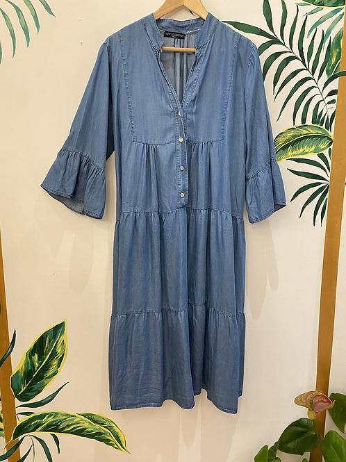 Denim Tiered Frill Sleeve Midi Dress