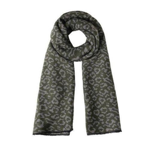 Reversible khaki leopard scarf
