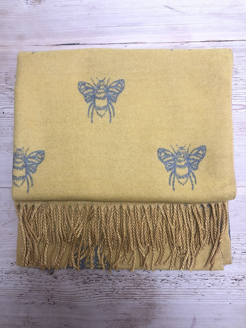 Reversible Cashmere Blend Bee Scarf