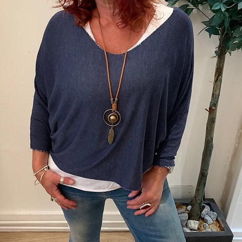 Casual 3 in 1 top (vest top necklace)