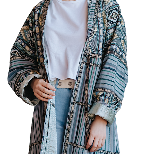 Пальто-халат из винтажного шелка и хлопка