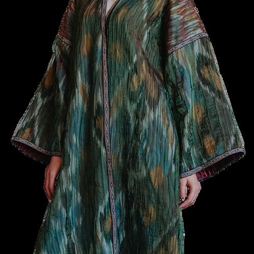 Пальто-халат из ткани ручного плетения