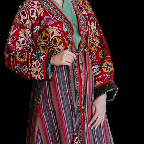 Пальто-халат из шелковой и хлопчатобумажной винтажной ткани