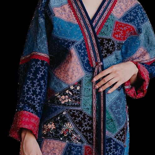 Пальто-халат в технике пэчворк