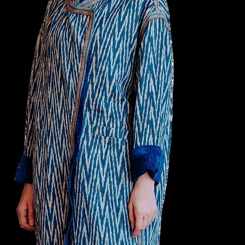 Пальто двустороннее из хлопка и винтажного бархата