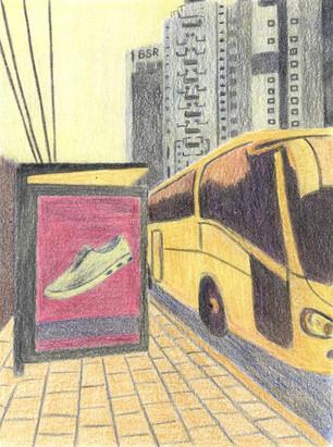 Bus Stop l | Color Pencils on Paper | 17x13 cm | 2014