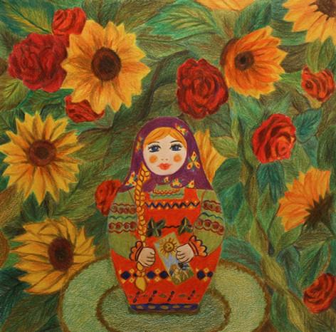 Matryoshka the Sun   Color Pencils on Paper   26x26 cm   2017