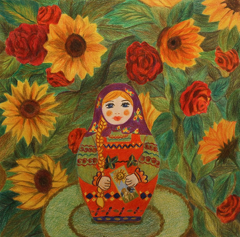 Matryoshka the Sun | Color Pencils on Paper | 26x26 cm | 2017