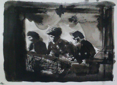 Three Charachters | Black Ink on Paper | 17x22 cm | 2013 | Private Collection